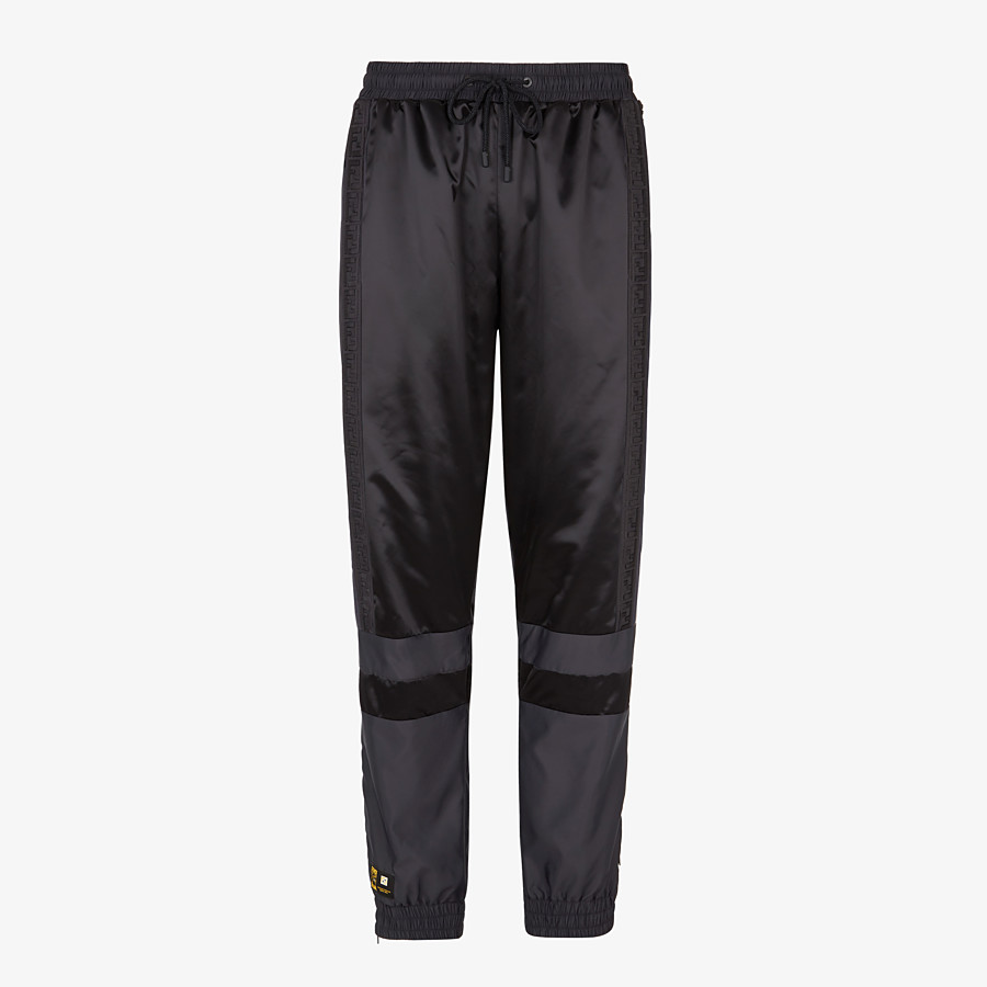 FENDI PANTS - Black tech satin pants - view 1 detail