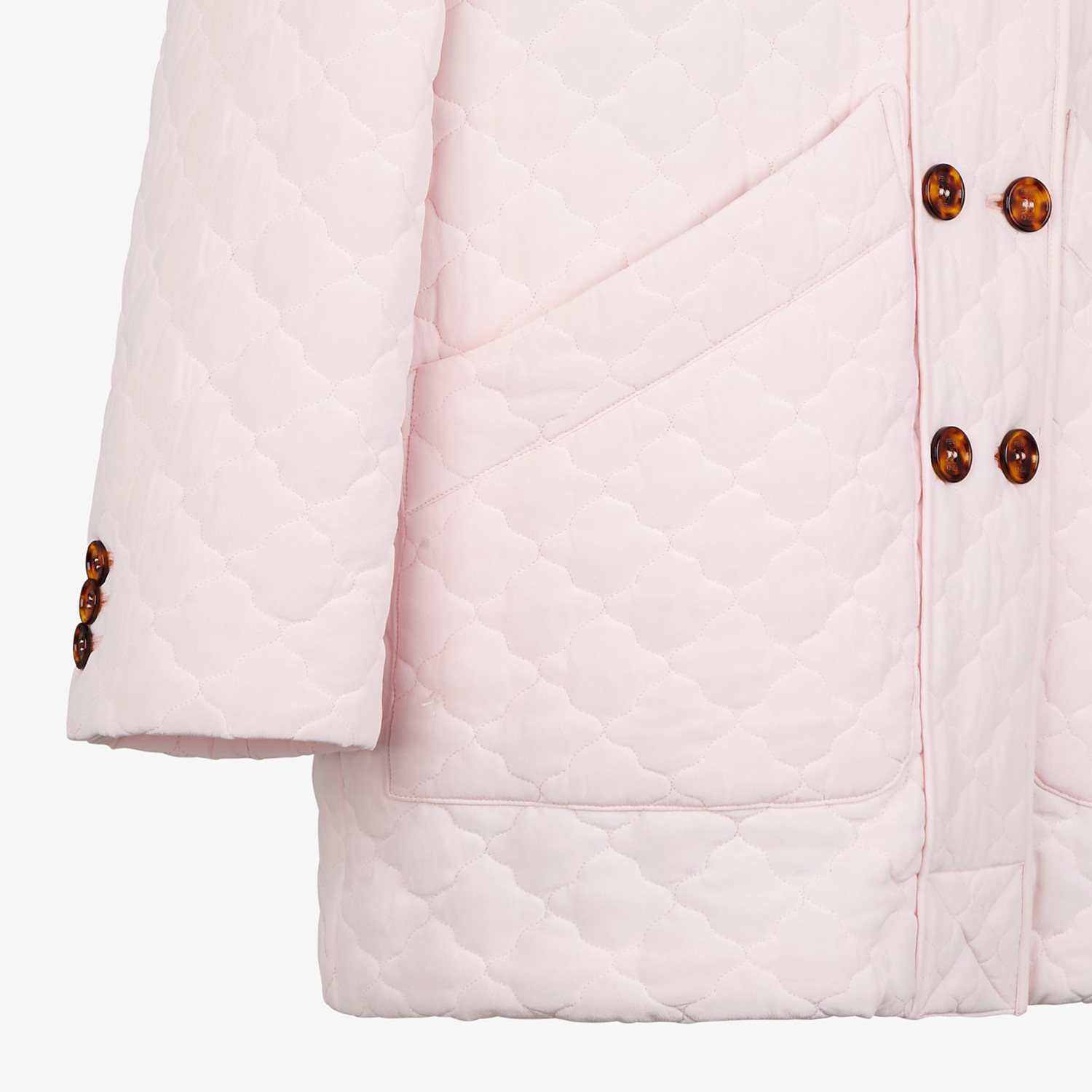 FENDI JACKET - Pink quilted crêpe de chine jacket - view 3 detail