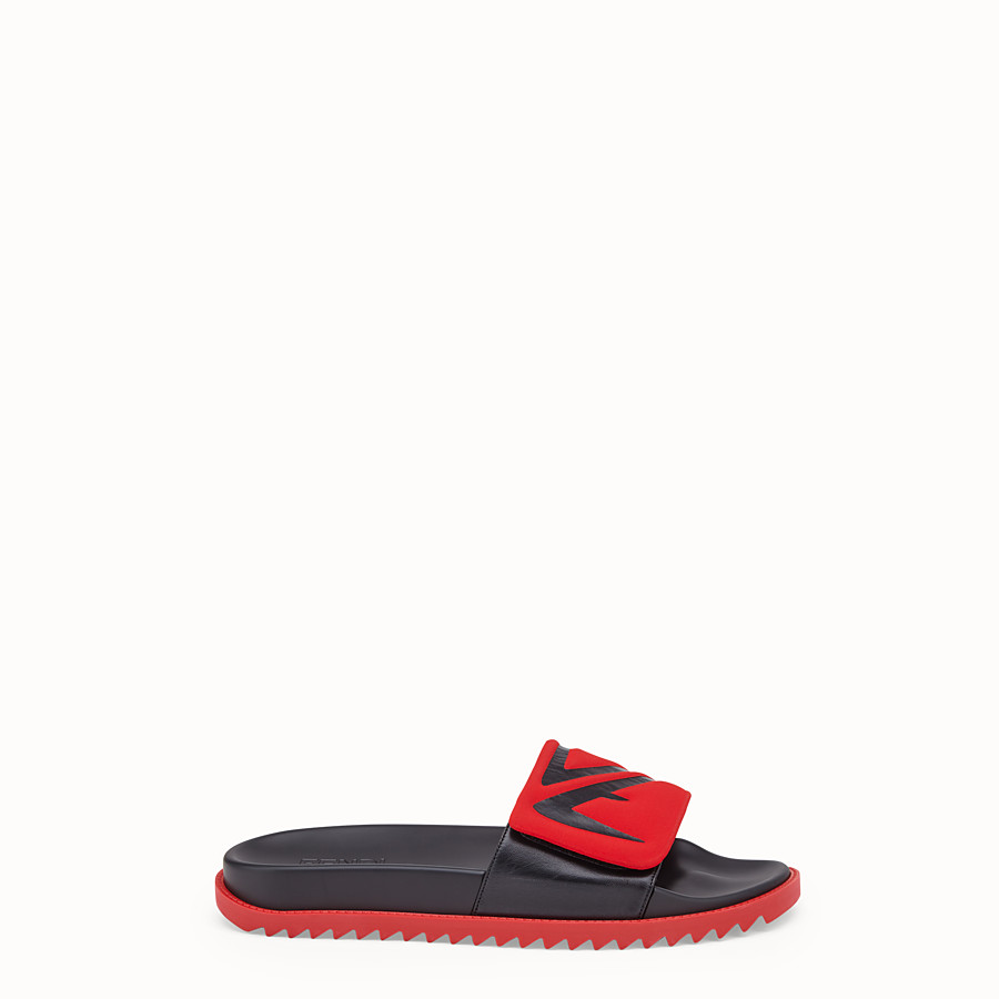 FENDI SLIDES - Red leather and scuba slides - view 1 detail