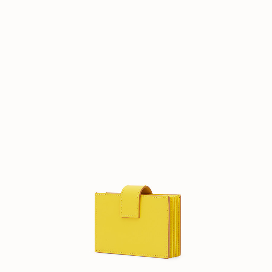 FENDI CARD HOLDER - Yellow leather gusseted card holder - view 2 detail