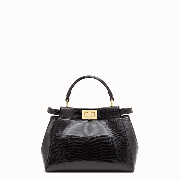 FENDI PEEKABOO ICONIC MINI - Black lizard bag - view 1 small thumbnail