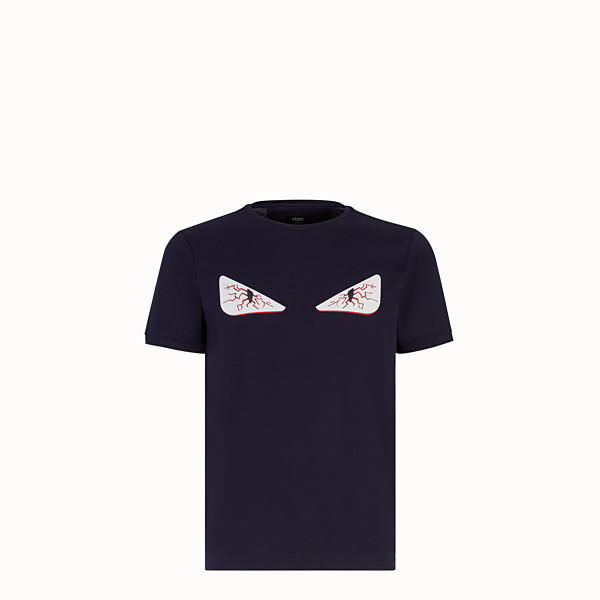 FENDI T-SHIRT - Blue cotton T-shirt - view 1 small thumbnail