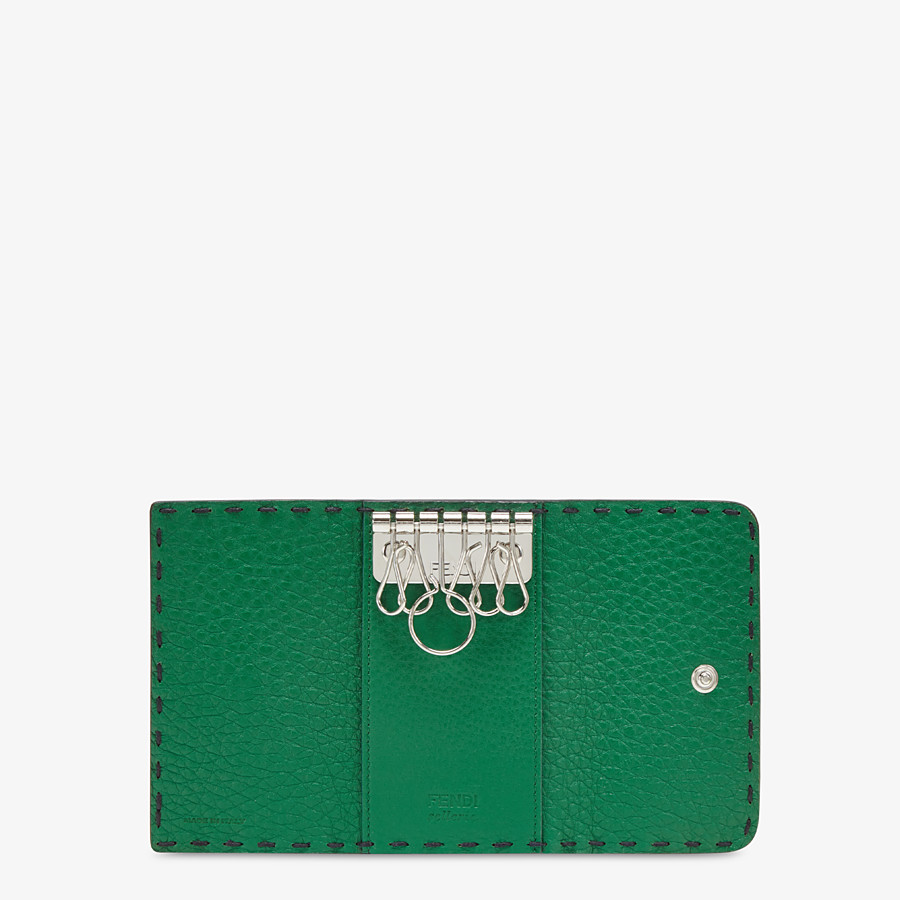 FENDI KEY RING - Blue Romano leather pouch - view 3 detail