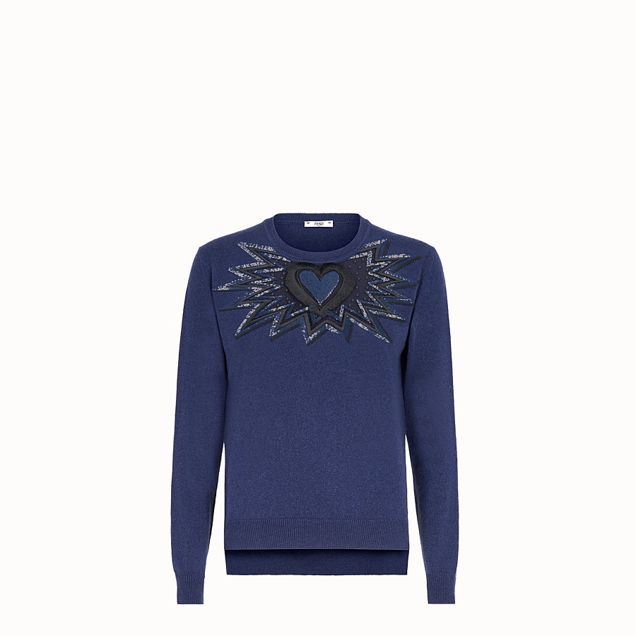 FENDI JUMPER - Blue cashmere and silk jumper - view 1 detail