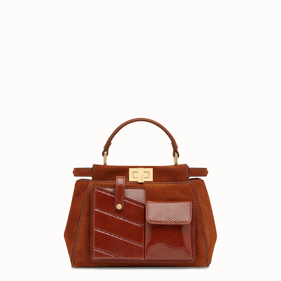FENDI PEEKABOO ICONIC MINI - Borsa in suede marrone ed esotico - vista 1 dettaglio