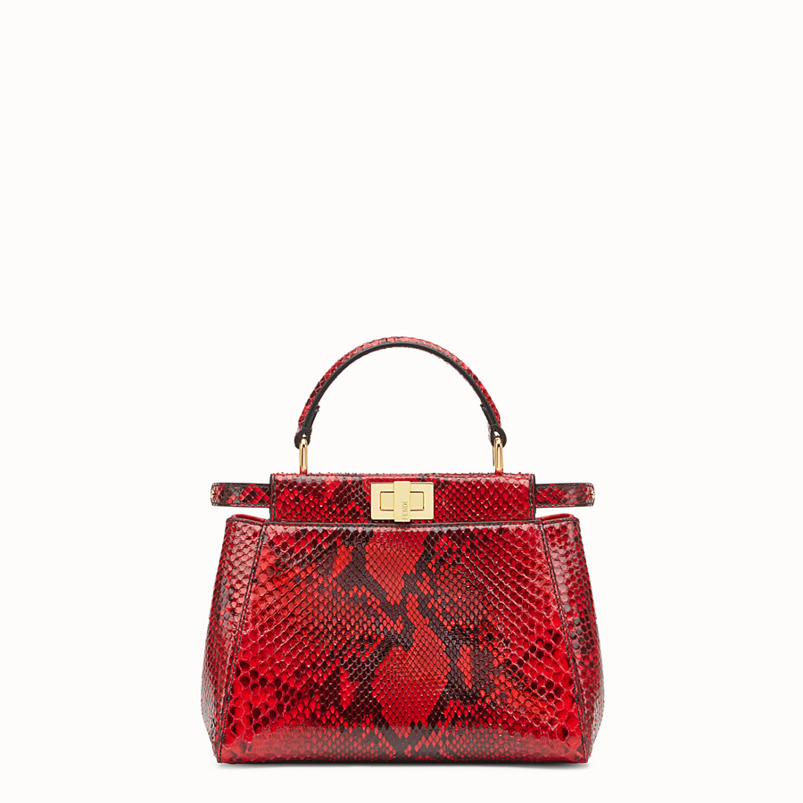 FENDI PEEKABOO MINI - Red python handbag. - view 1 detail