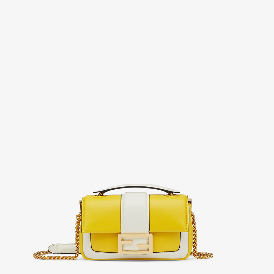 FENDI MINI BAGUETTE CHAIN - Yellow and white nappa leather bag - view 1 detail