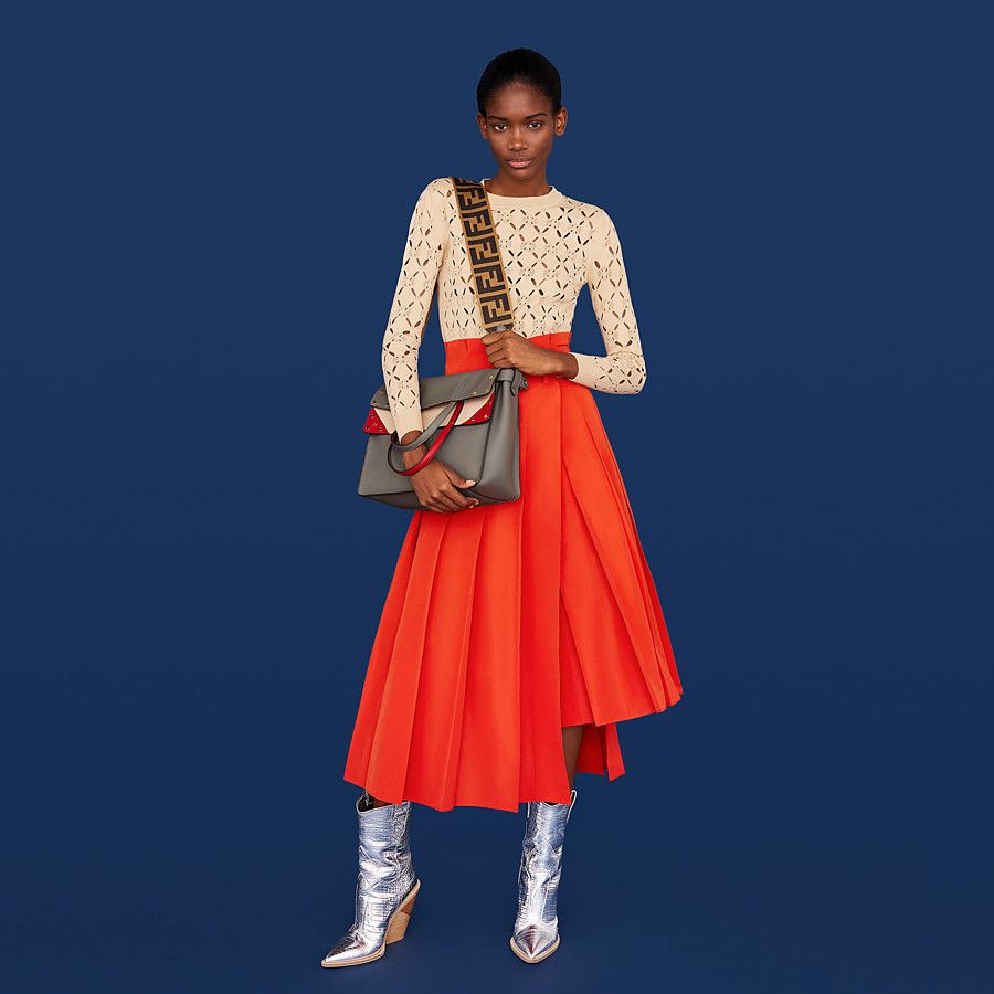 FENDI SKIRT - Orange faille skirt - view 4 detail