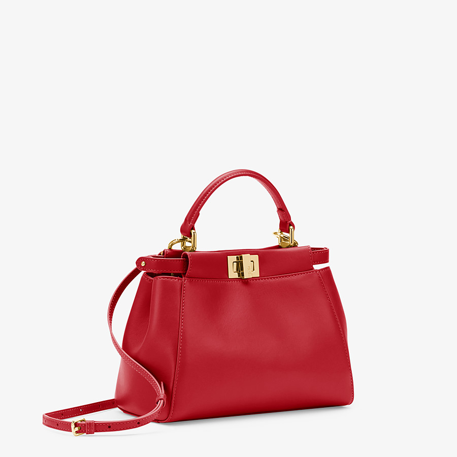 FENDI PEEKABOO ICONIC MINI - Red leather bag - view 2 detail