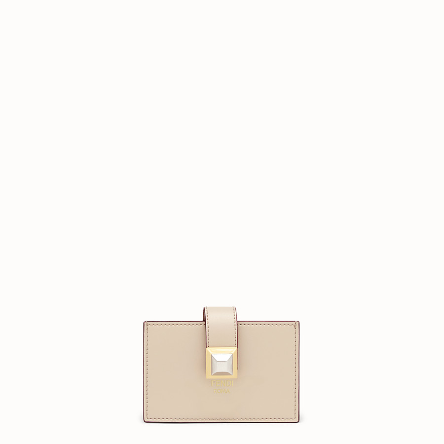 FENDI CARD HOLDER - Beige leather gusseted card holder - view 1 detail