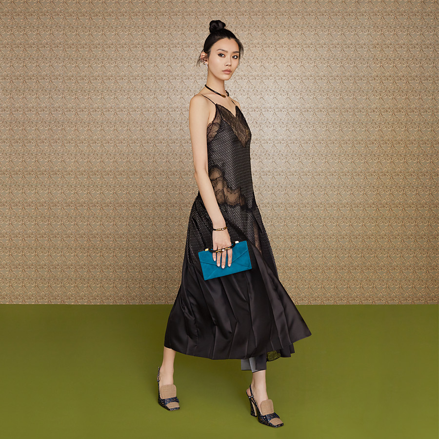 FENDI DRESS - Black silk twill dress - view 4 detail