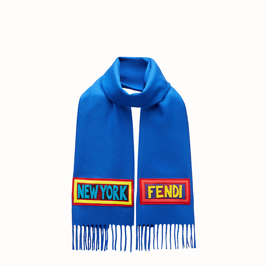 FENDI  - Blue wool scarf - view 1 detail