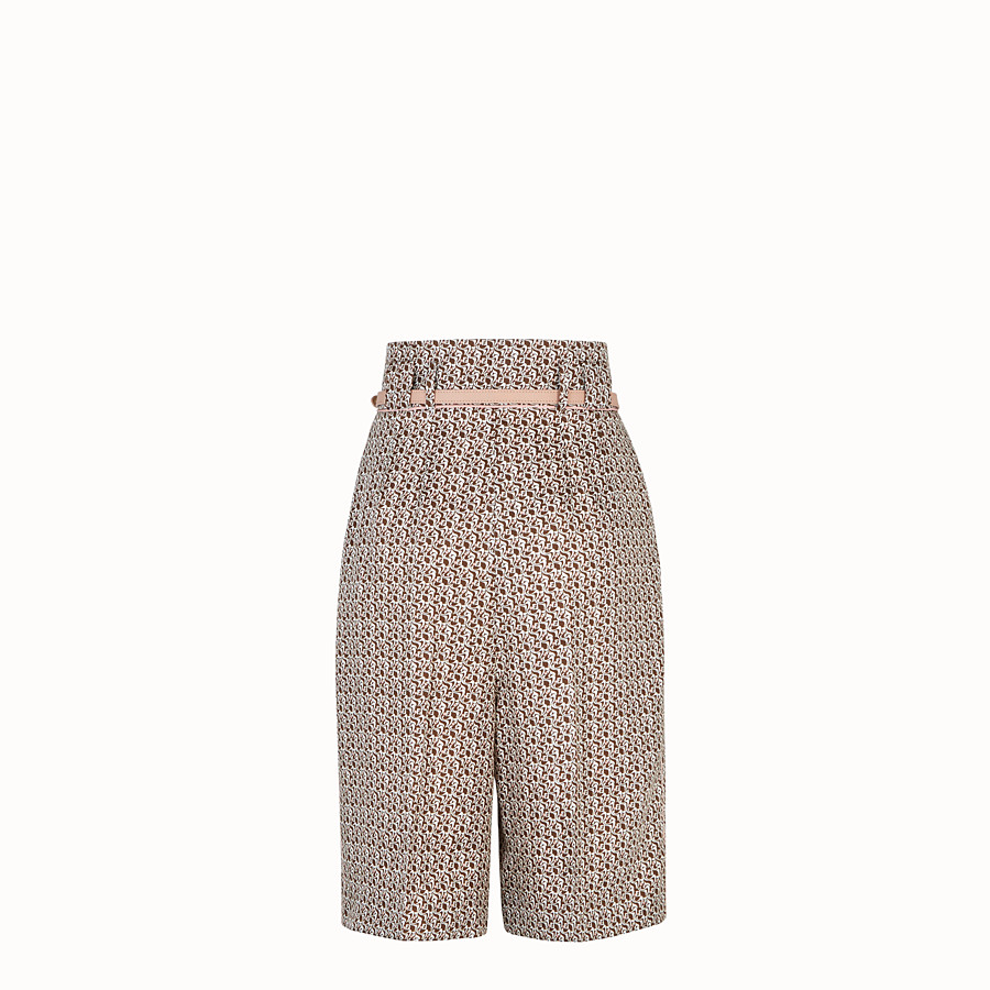 FENDI TROUSERS - Bermudas in brown and pink silk - view 2 detail