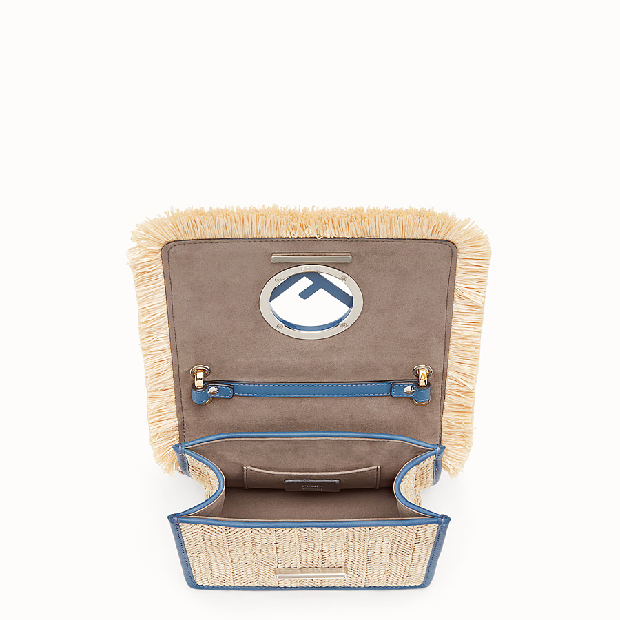 FENDI KAN I F SMALL - Raffia and blue leather mini-bag - view 4 detail