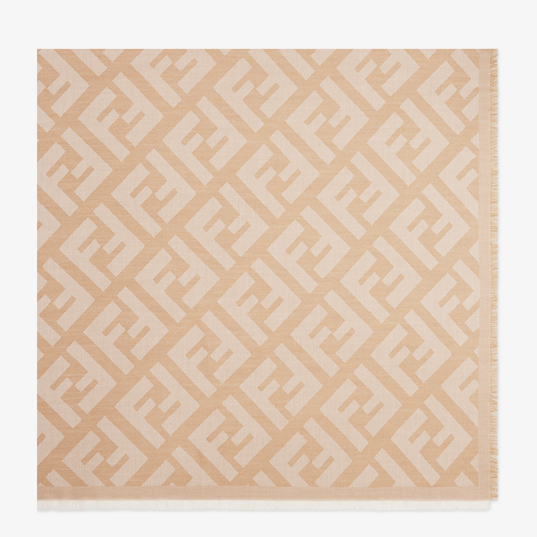FENDI SCIALLE FF - Scialle in lana e cachemire beige - vista 1 dettaglio