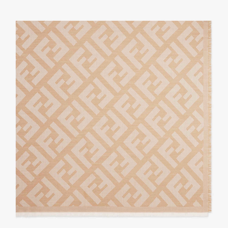 FENDI FF SHAWL - Beige wool and cashmere shawl - view 1 detail