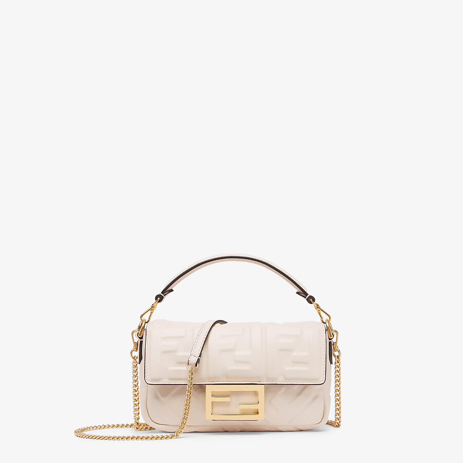 FENDI BAGUETTE - White nappa leather FF bag - view 1 detail