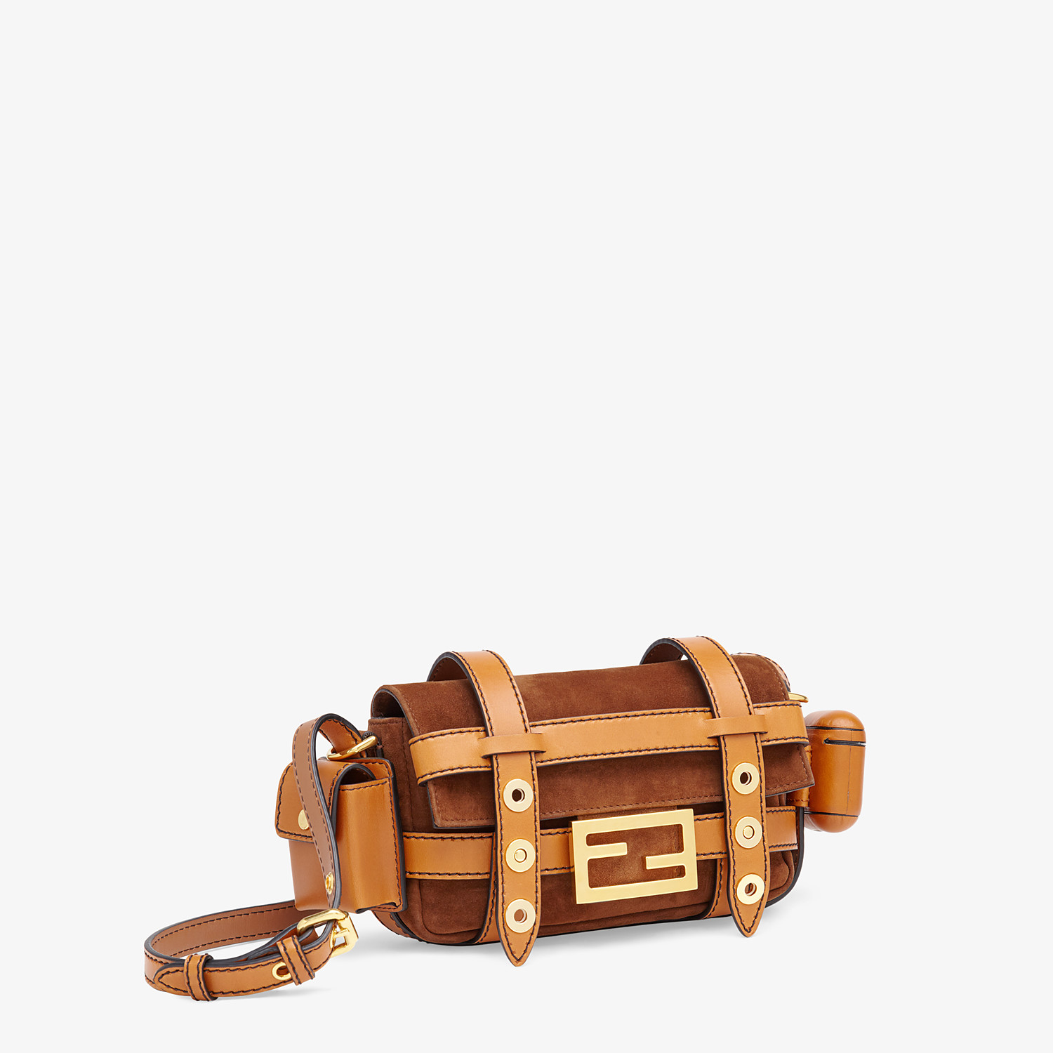 FENDI BAGUETTE MINI CAGE - Brown suede and leather bag - view 4 detail