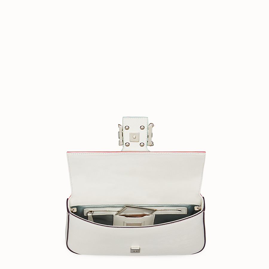 FENDI BAGUETTE - white leather shoulder bag with rhinestones - view 4 detail
