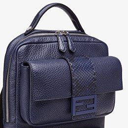 FENDI BACKPACK - Blue calf leather backpack - view 4 thumbnail