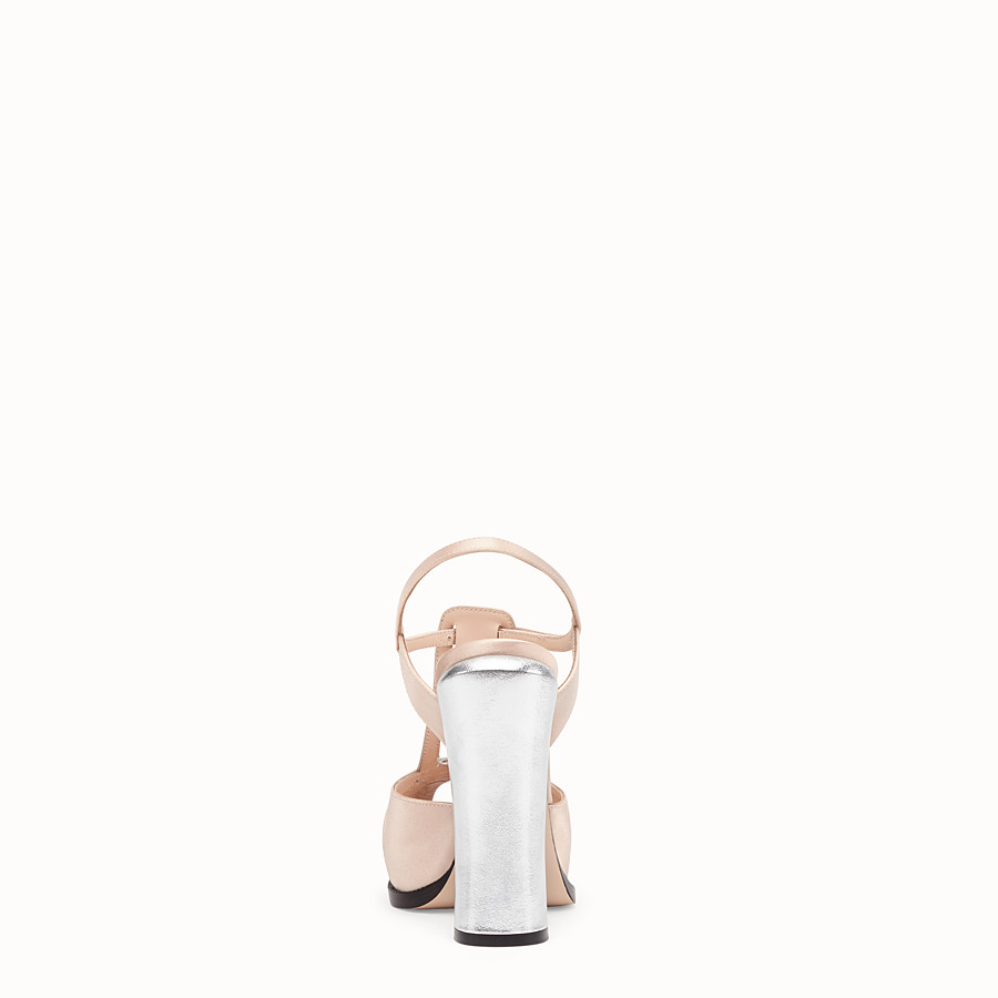 FENDI SANDALS - Pink satin sandals - view 3 detail