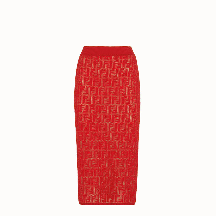 FENDI SKIRT - Red cotton skirt - view 1 detail