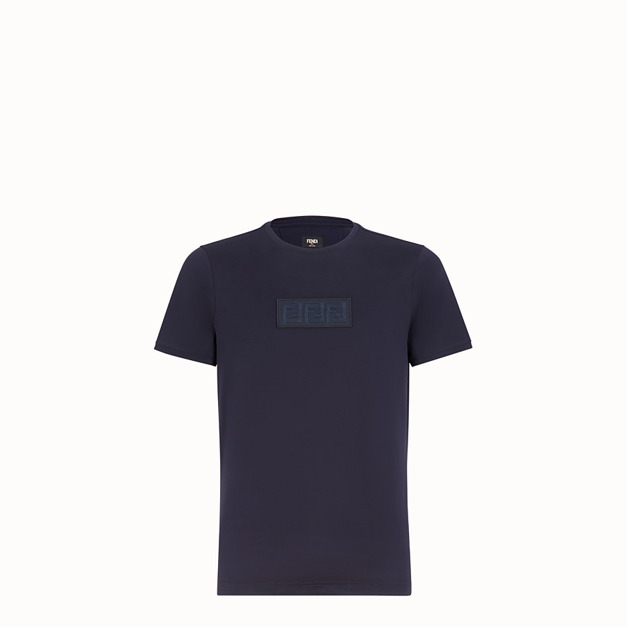 FENDI T-SHIRT - Dark blue cotton T-shirt - view 1 detail