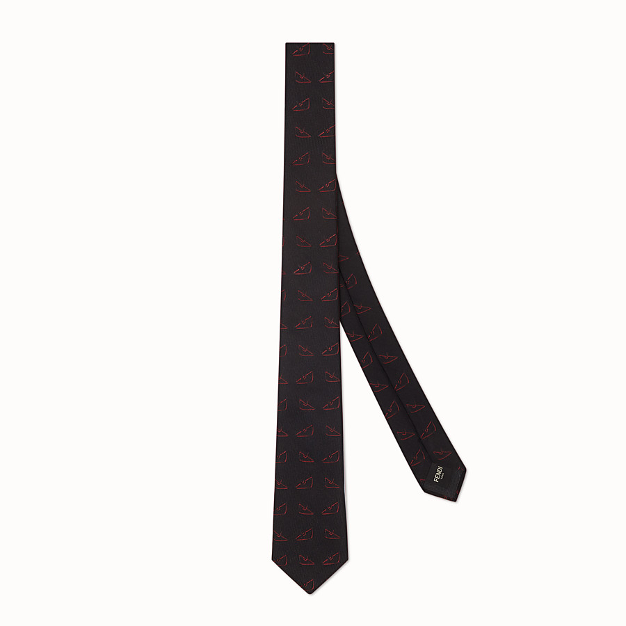 FENDI TIE - Black silk necktie - view 1 detail