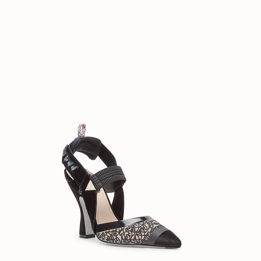 FENDI COURT SHOES - Black velvet slingbacks - view 2 detail
