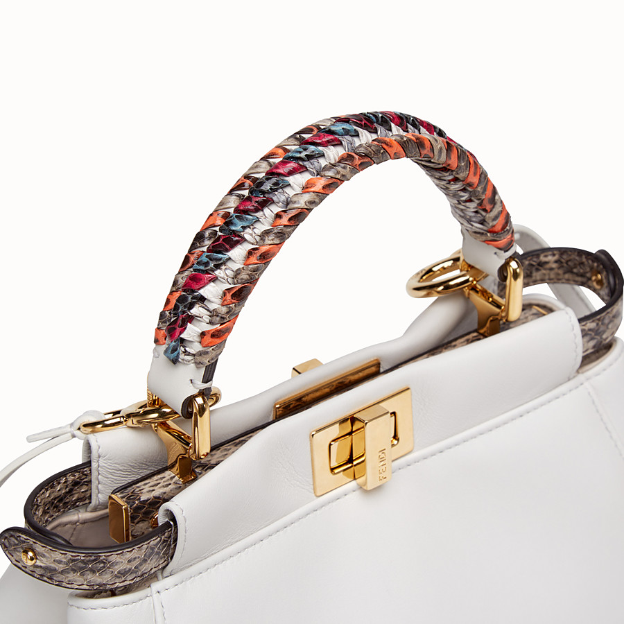 FENDI PEEKABOO MINI - White leather bag with exotic details - view 5 detail