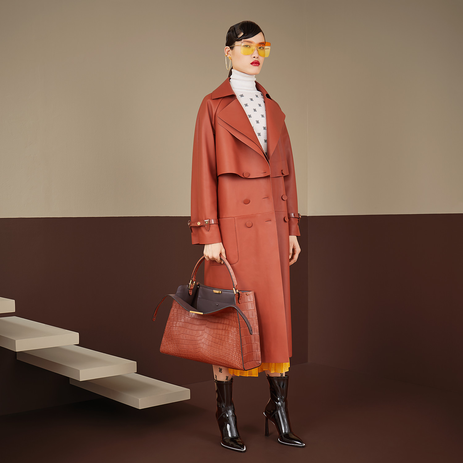 FENDI TRENCH COAT - Brown leather trench coat - view 4 detail