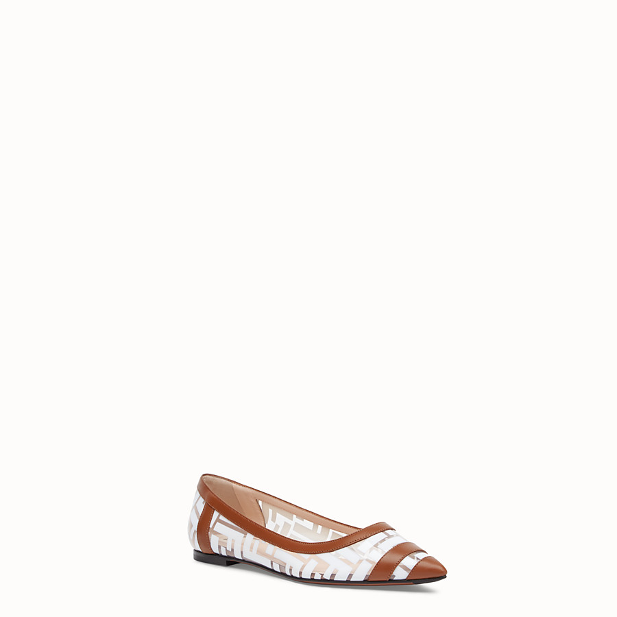 FENDI BALLERINAS - Flats in PU and white leather - view 2 detail