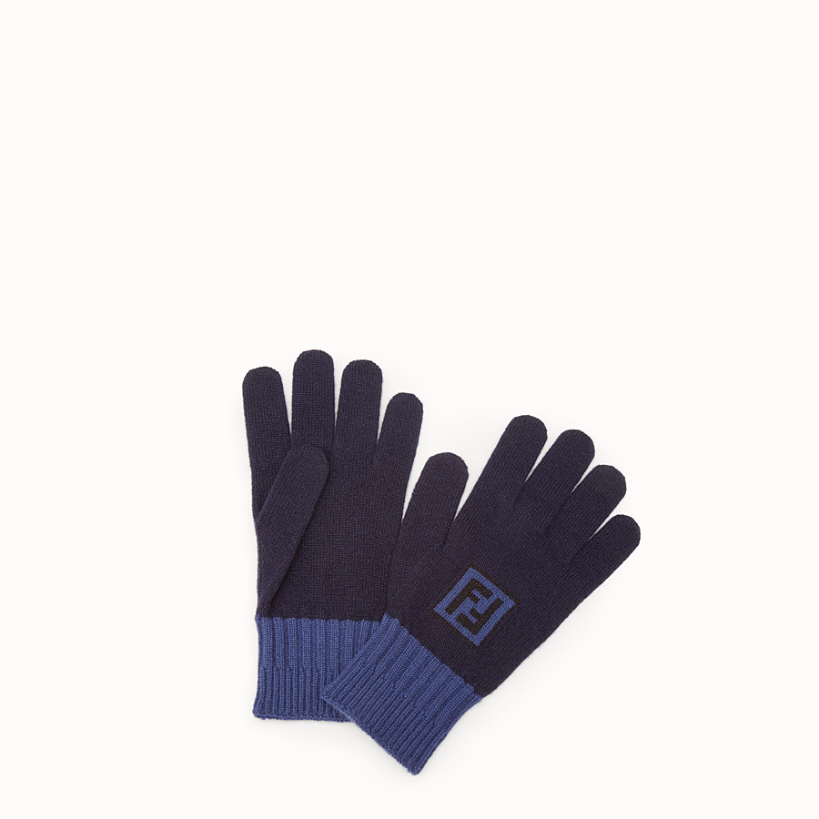 FENDI GLOVES - Blue wool and cashmere gloves - view 1 detail