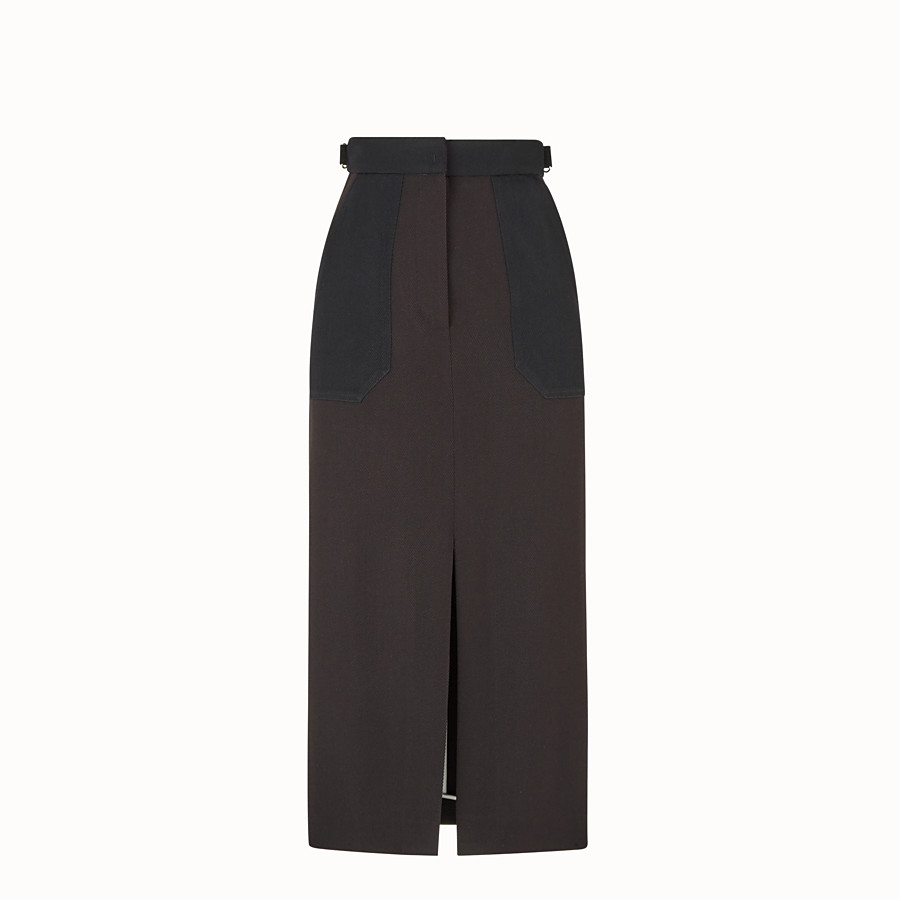 FENDI SKIRT - Black gabardine skirt - view 1 detail