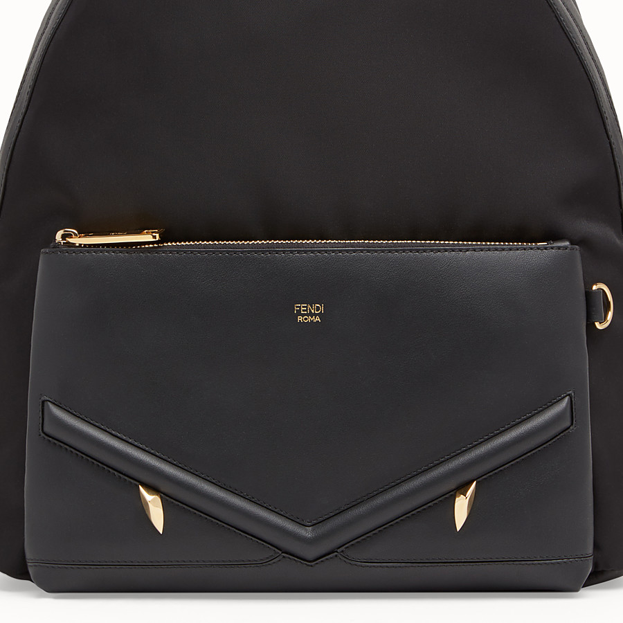 FENDI BACKPACK - Nylon and black leather backpack - view 4 detail