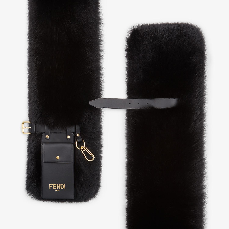 FENDI MAXI STOLE - Black fox fur stole - view 2 detail