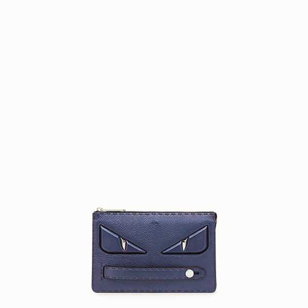 FENDI CLUTCH - Blue leather slim pouch - view 1 small thumbnail