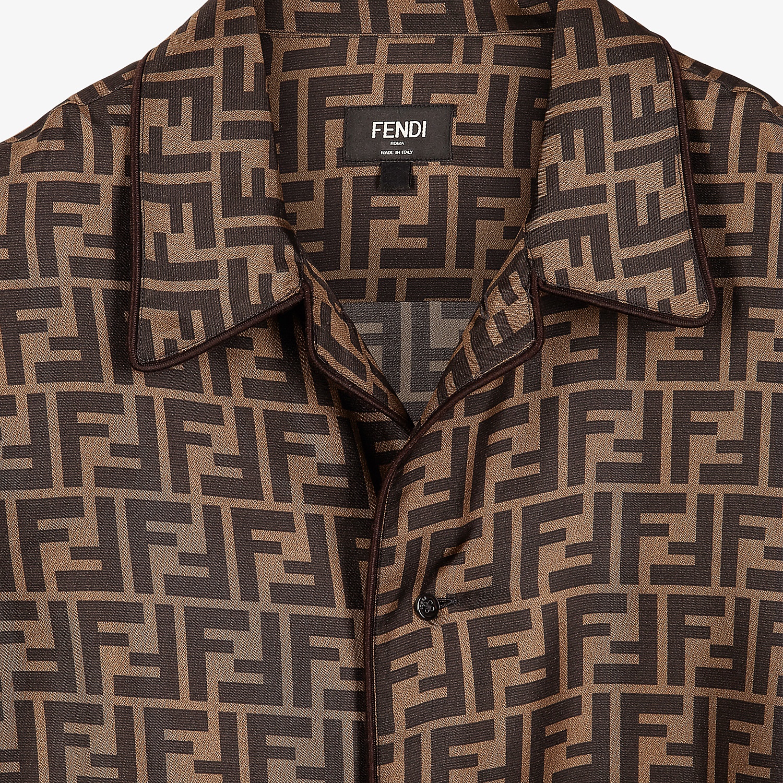 FENDI SHIRT - Brown silk shirt - view 3 detail
