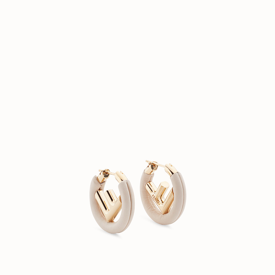 FENDI F IS FENDI EARRINGS - White leather earrings - view 1 detail
