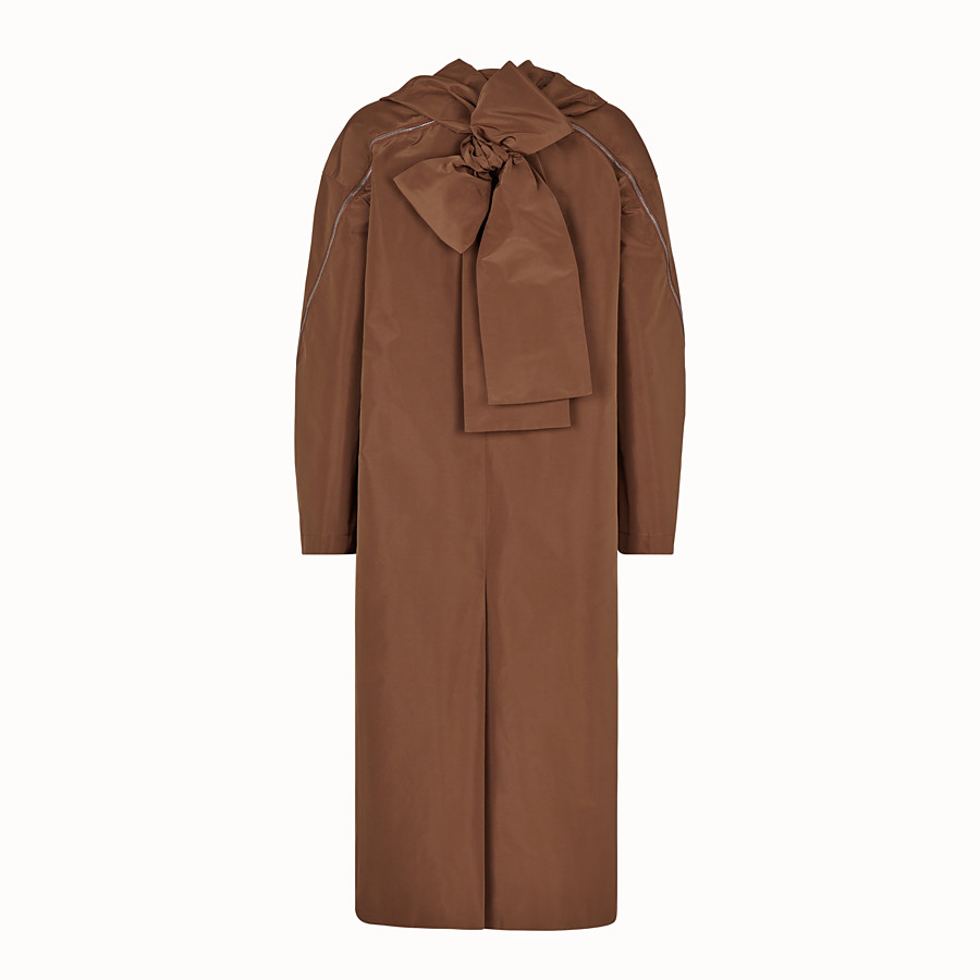 FENDI OVERCOAT - Brown faille trench coat - view 2 detail