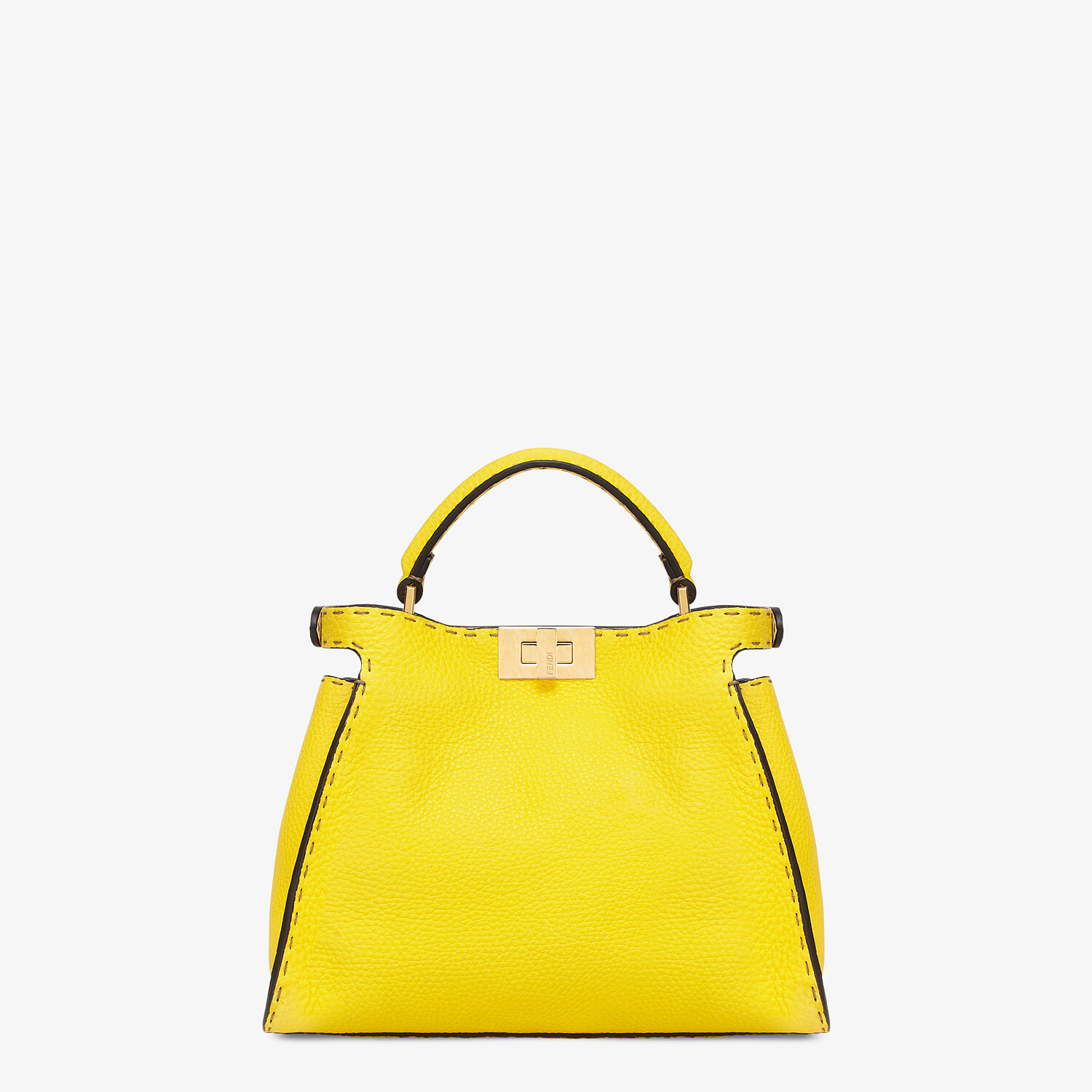 FENDI PEEKABOO ICONIC ESSENTIALLY - Yellow Cuoio Romano leather bag - view 4 detail