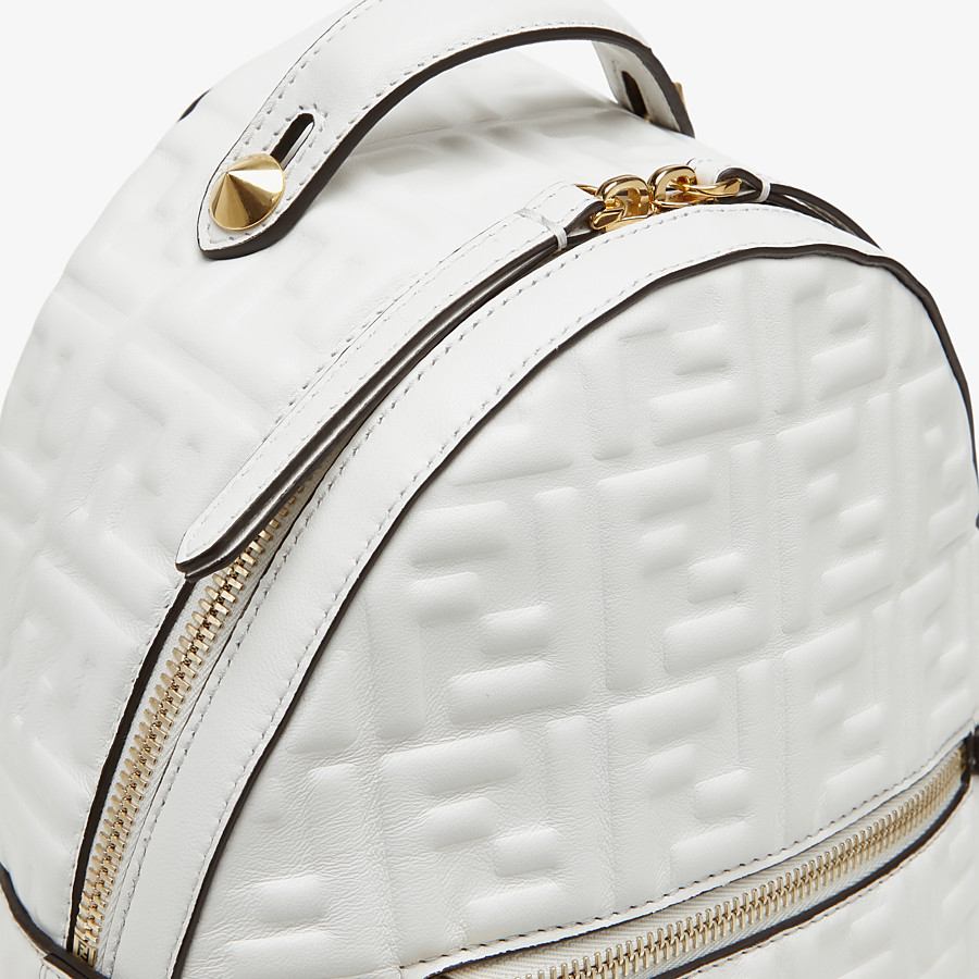 FENDI MINI BACKPACK - White FF leather backpack - view 4 detail
