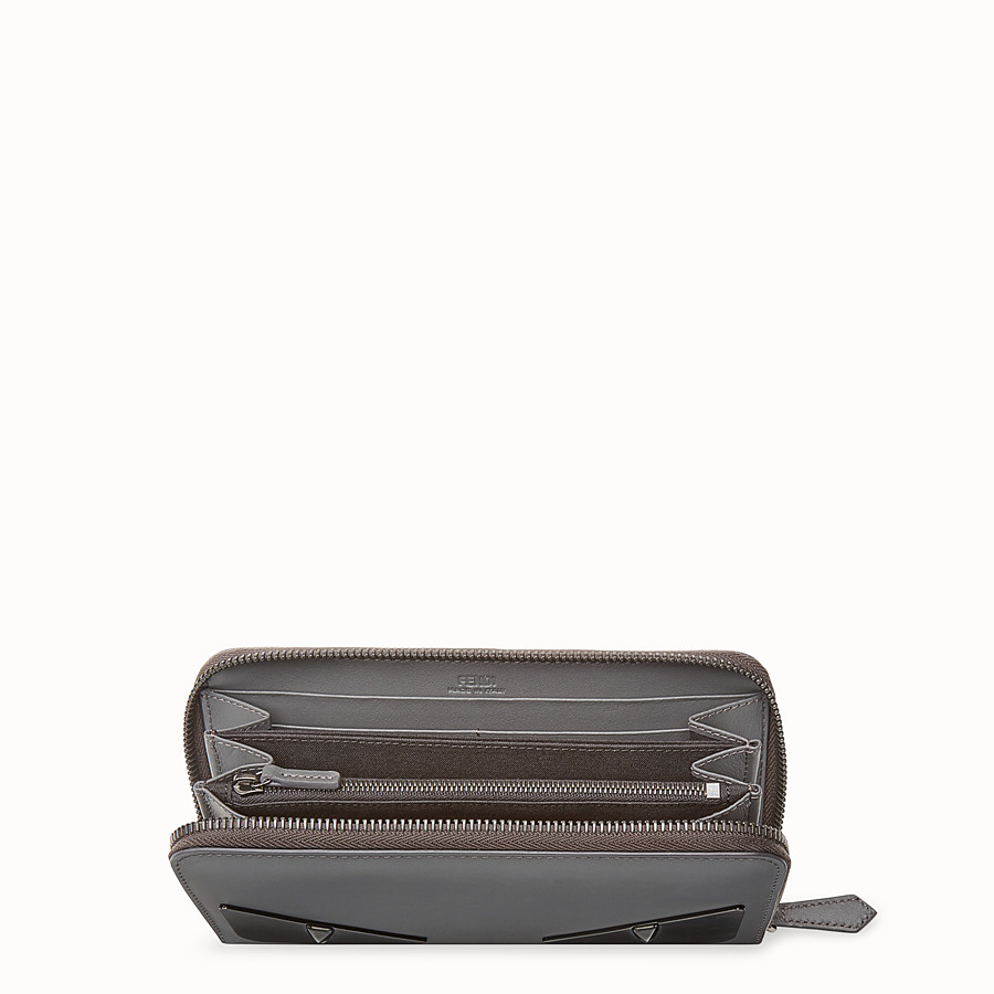 FENDI ZIP-AROUND - Grey leather wallet - view 3 detail