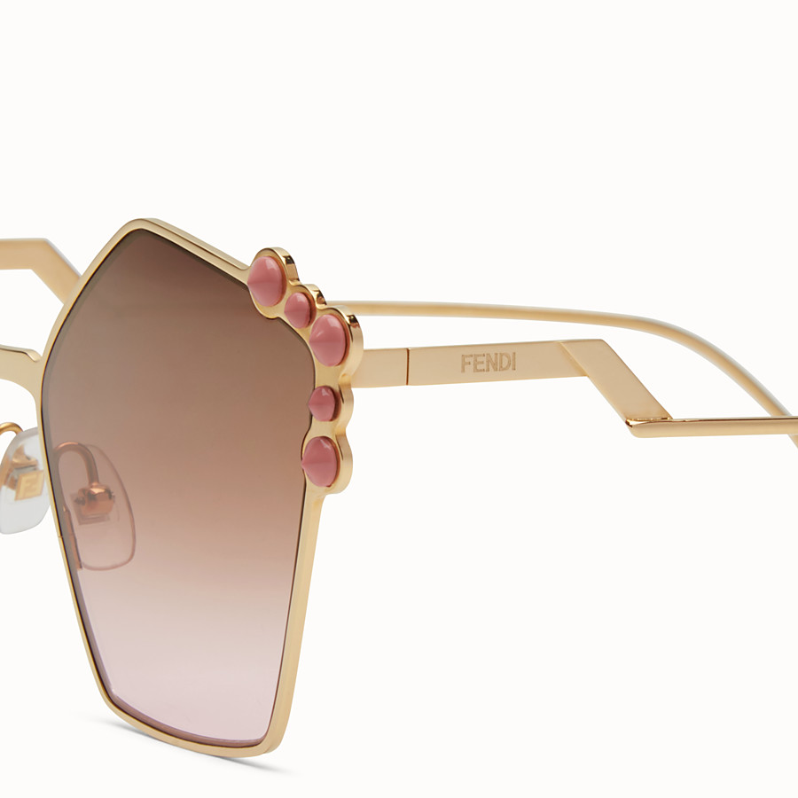 FENDI キャナイ - Rose gold sunglasses - view 3 detail