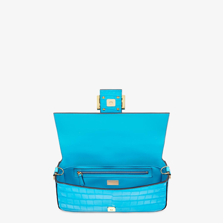 FENDI BAGUETTE - Light blue crocodile leather bag - view 4 detail