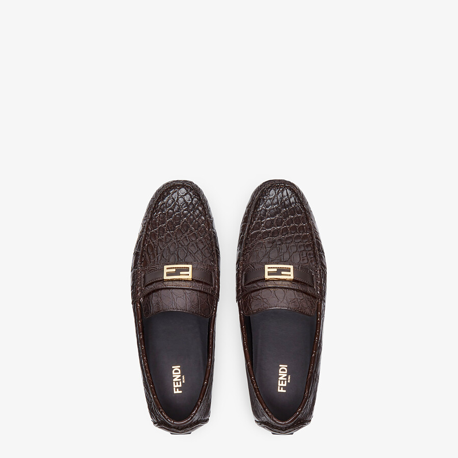 FENDI LOAFERS - Brown caiman drivers - view 4 detail