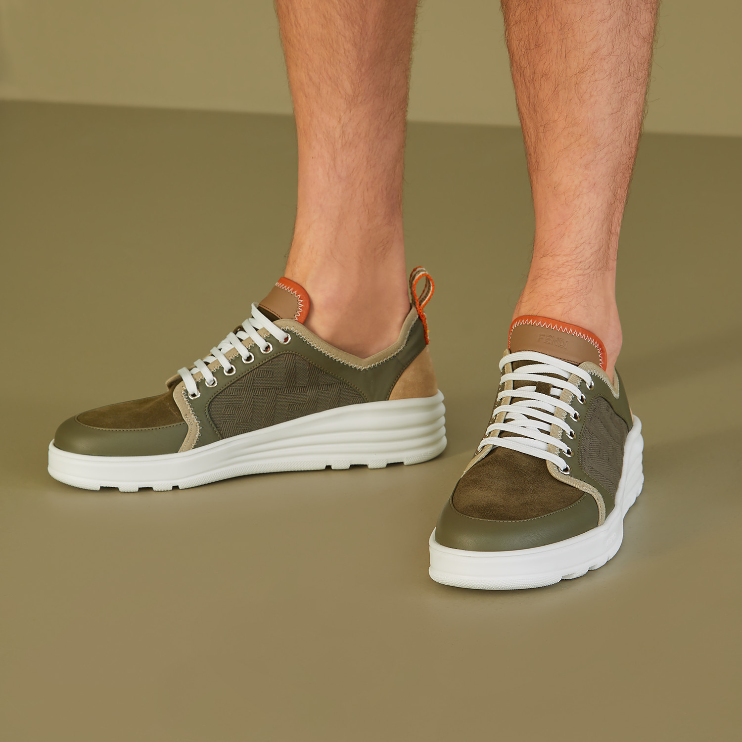 FENDI SNEAKERS - Multicolour leather and suede low-tops - view 5 detail