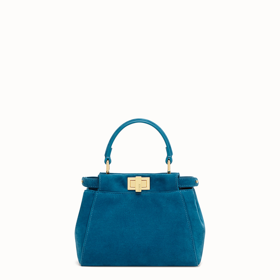 FENDI PEEKABOO ICONIC XS - Blue suede mini bag - view 1 detail