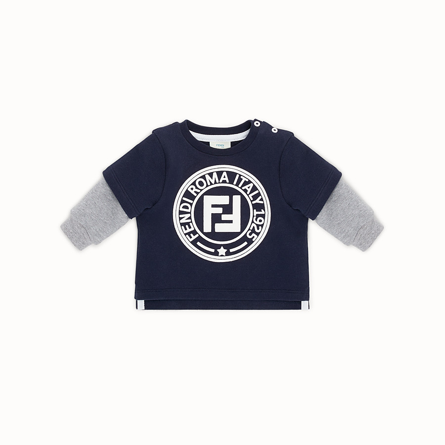 FENDI SWEATSHIRT - Blue cotton baby sweatshirt - view 1 detail