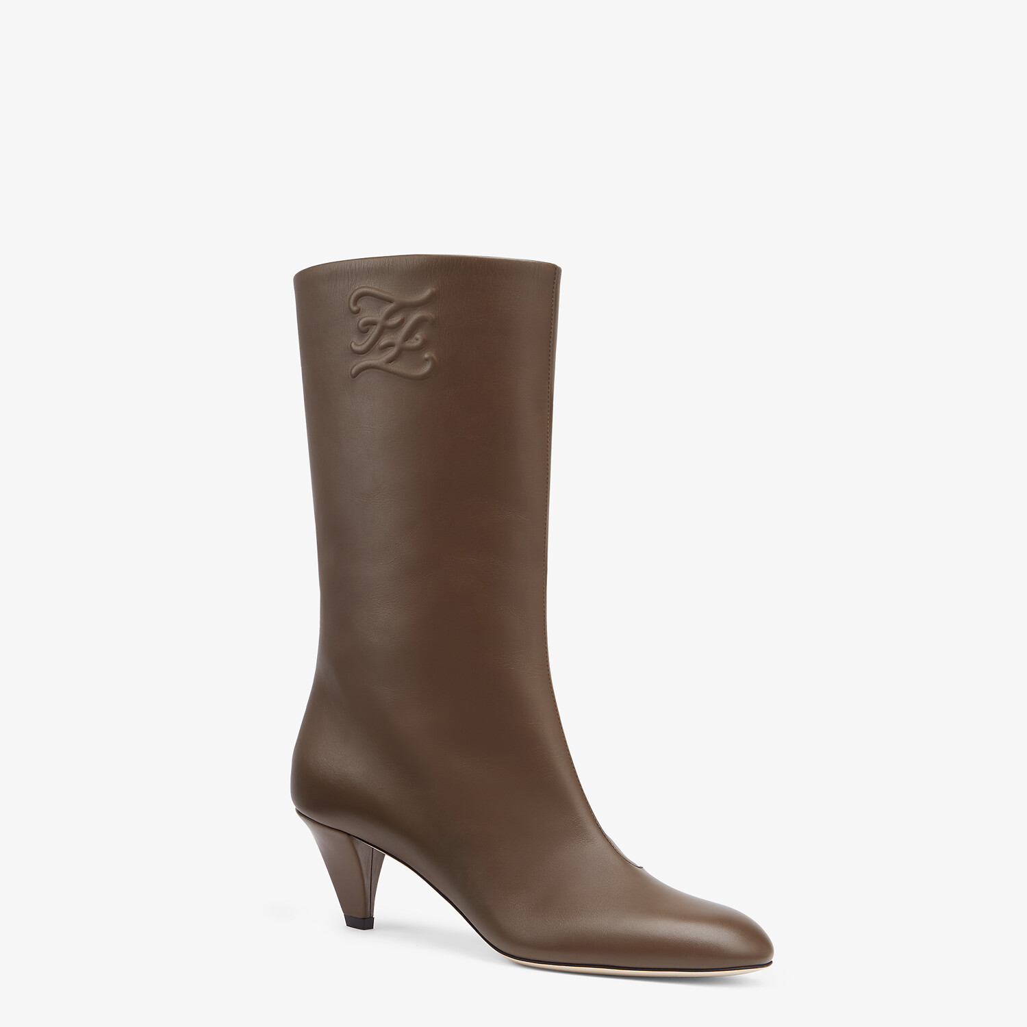 FENDI KARLIGRAPHY - Brown leather boots with medium heel - view 2 detail
